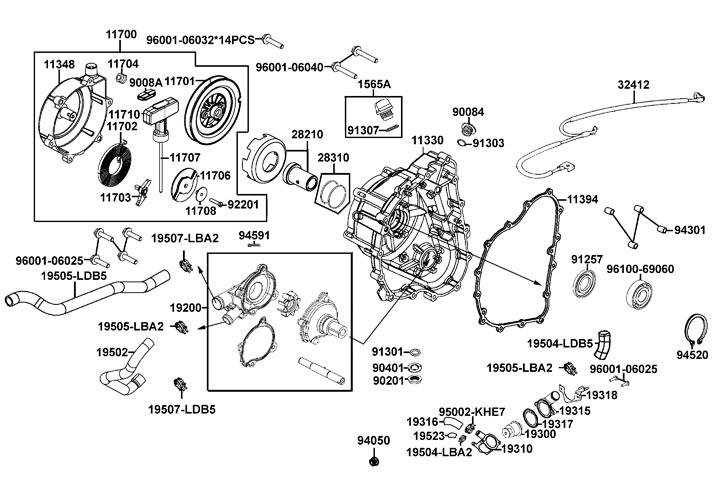 Höger motorkåpa - Vattenpump - Dragstart