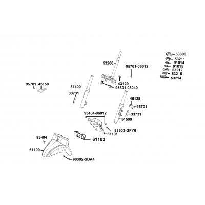 Framgaffel - Stänkskärm - Styrkrona