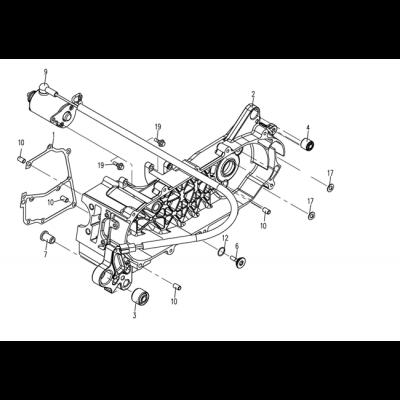 Startmotor - Vänster vevhus
